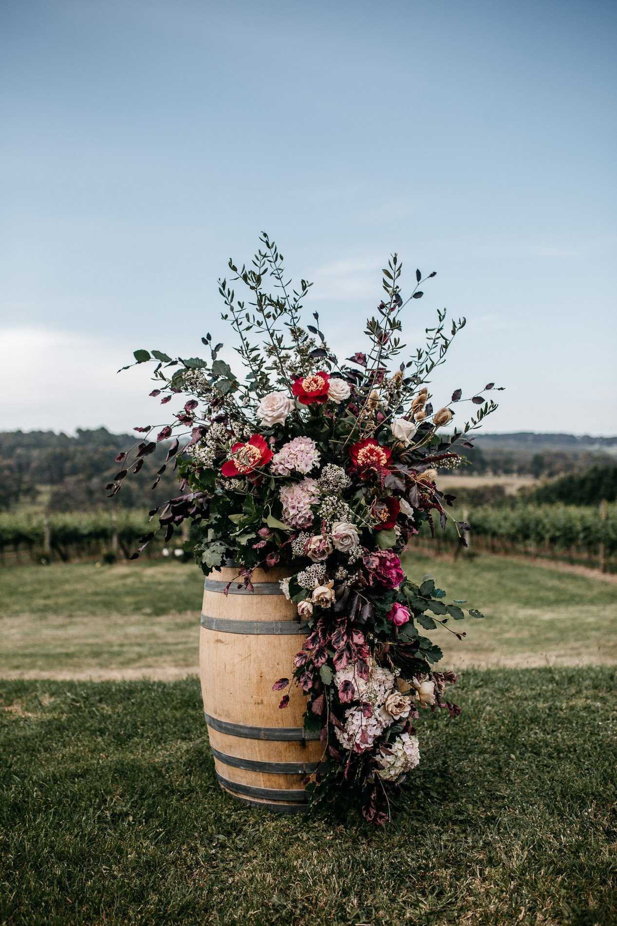 bride and groom Panton Vineyard wedding fern and sone photography red hill wedding poppy culture
