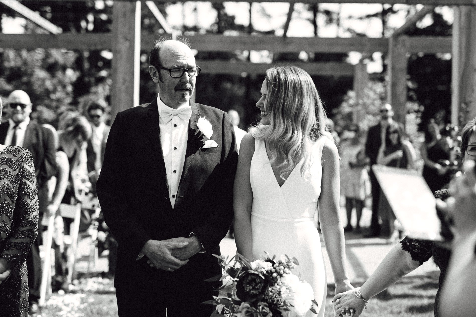 bride and groom Panton Vineyard wedding fern and sone photography red hill wedding dad walking daughter down aisle
