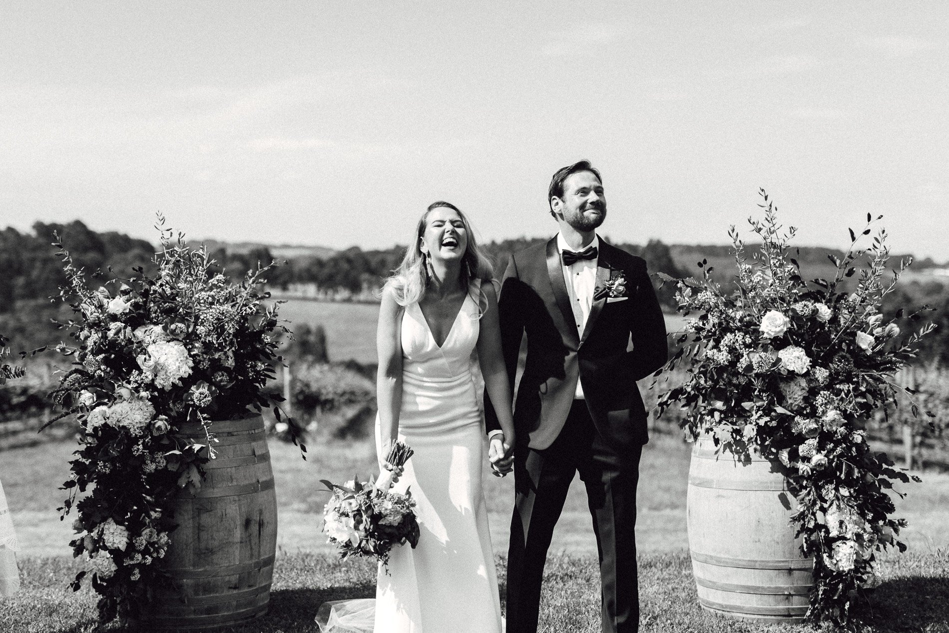 bride and groom Panton Vineyard wedding fern and sone photography red hill wedding laughing ceremony