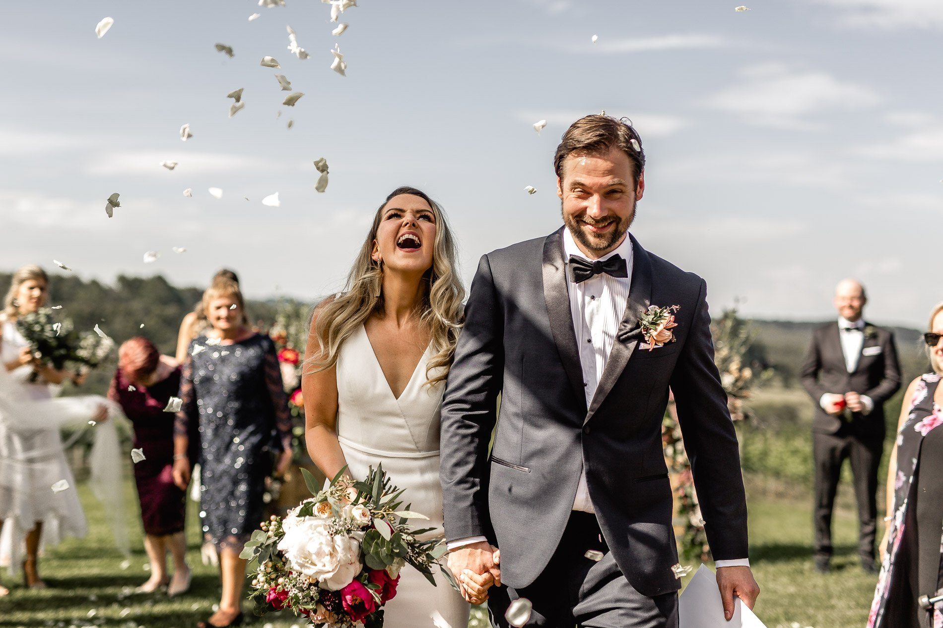 bride and groom Panton Vineyard wedding fern and sone photography red hill wedding just married