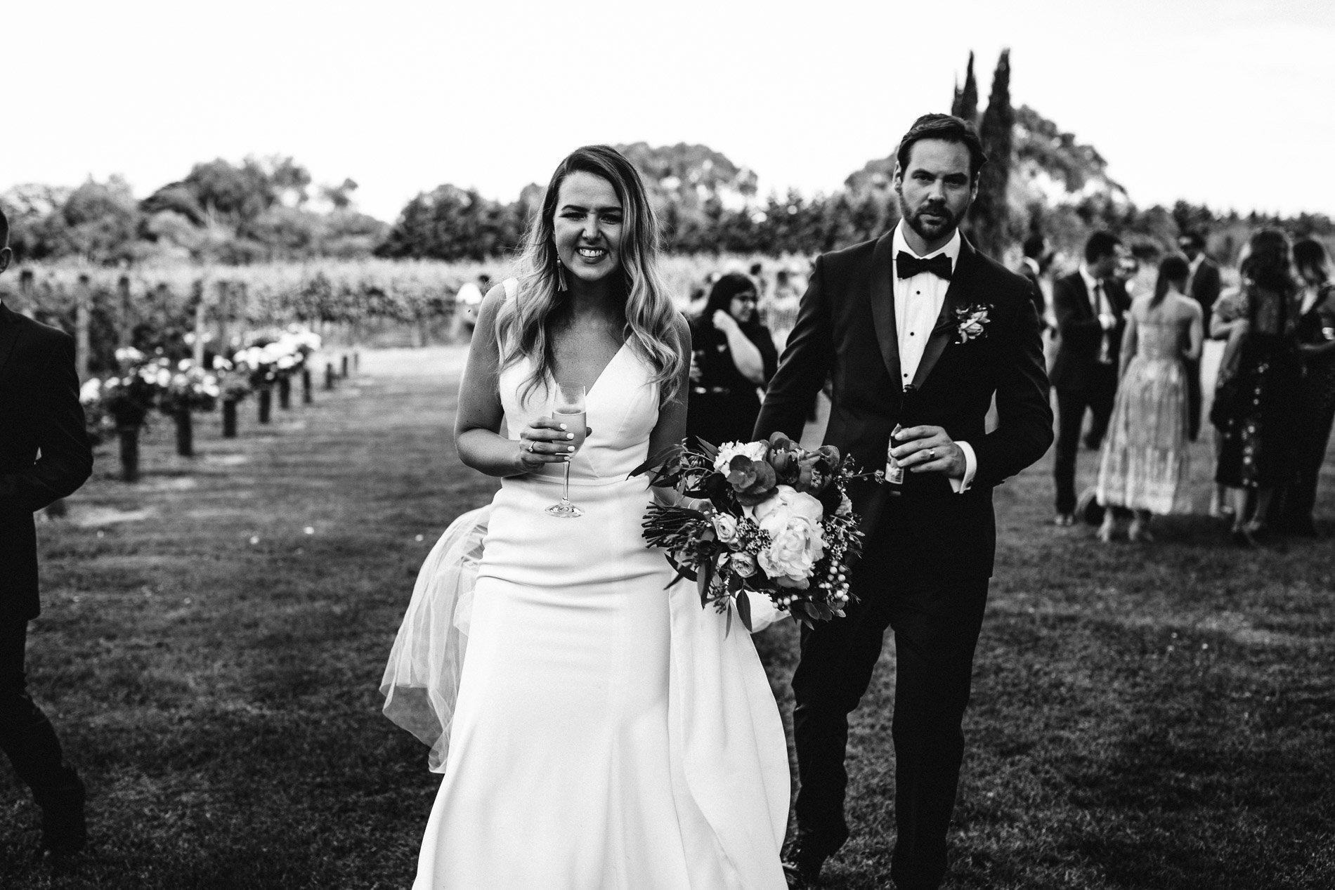 bride and groom Panton Vineyard wedding fern and sone photography red hill wedding black and whie