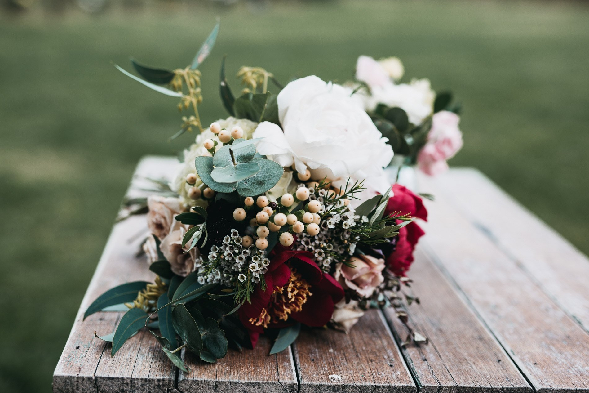 Red hill wedding epicurean fern and stone photography poppy culture bridal bouqet